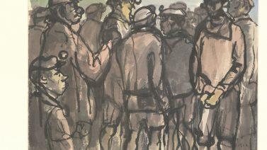 洪瑞麟〈礦工〉1960彩墨、紙30×40 (1)